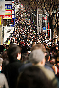 over crowded street in Tokyo on Omotesando - Harajuku, Japan