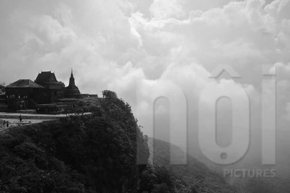 Pagoda directly above a cliff in the Elephant Mountain. Bokor national park in Kampot province, Cambodia, Asia