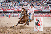 Barrel racing at the 2006 Cheyenne Frontier Days Rodeo in Cheyenne, Wyoming on July 23, 2006.