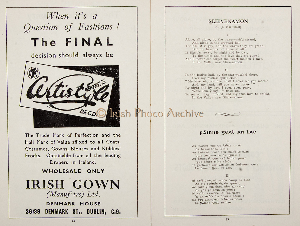 All Ireland Senior Hurling Championship Final,.Programme,.02.09.1951, 09.02.1951, 2nd September 1951,.Wexford 3-9, Tipperary 7-7,.Minor Cork v Galway, .Senior Wexford v Tipperary, .Croke Park, ..Advertisements, Certistyle Irish Gown, ..Poems, Slievenamon, Fainne Geal An Lae,