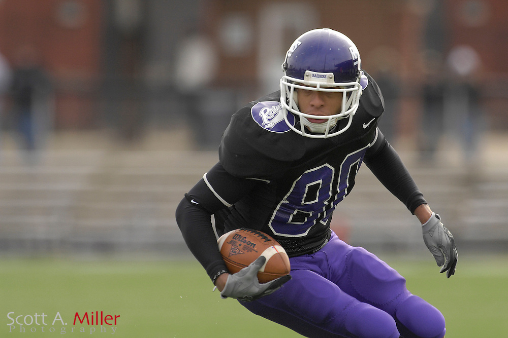 Nov. 24, 2007; Alliance, OH, USA;  Mount Union Purple Raiders receiver Bryson Davis (80)) during his team's 59-7 win over the College of New Jersey Lions in the second round of the Division III playoffs at Mount Union Stadium. ...©2007 Scott A. Miller