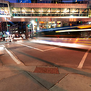 Bus motion blur at intersection of 12th Street and Wyandotte in downtown Kansas City, MO.