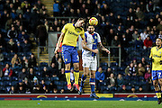 Blackburn Rovers Defender , Charlie Mulgrew (14) and Leeds United forward Chris Wood (9)  battle during the EFL Sky Bet Championship match between Blackburn Rovers and Leeds United at Ewood Park, Blackburn, England on 2 February 2017. Photo by Pete Burns.