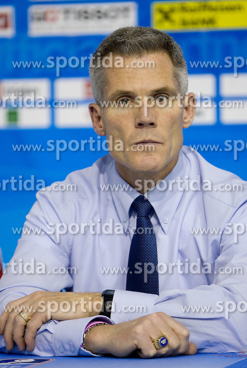 Head coach of Slovenia John Harrington at press conference after the IIHF Ice-hockey World Championships Division I Group B match between National teams of Slovenia and Poland, on April 17, 2010, in Tivoli hall, Ljubljana, Slovenia. (Photo by Vid Ponikvar / Sportida)