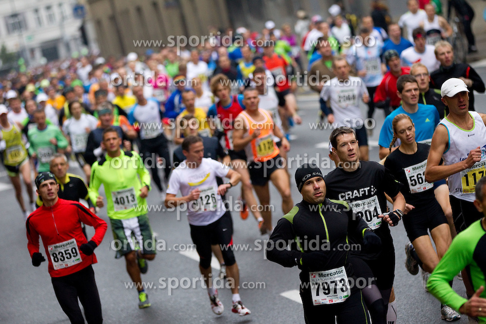 Runners during 21km and 42km marathon of 16th International Ljubljana Marathon 2011 on October 23, 2011, in Trg republike, Ljubljana, Slovenia.  (Photo by Vid Ponikvar / Sportida)
