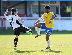 Bristol Rovers' Ellis Harrison is challenged by Dover Athletic's James Poole - Photo mandatory by-line: Neil Brookman/JMP - Mobile: 07966 386802 - 18/04/2015 - SPORT - Football - Dover - Crabble Athletic Ground - Dover Athletic v Bristol Rovers - Vanarama Football Conference