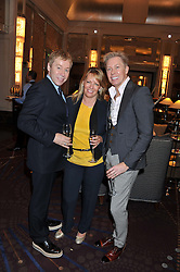 Left to right, ROYSTON BLYTHE, KAREN HOWES and NICK MALENKO at a tea party to held at The Langham Hotel, Portland Place, London with tea inspired by Theo Fennell held on 25th April 2013.