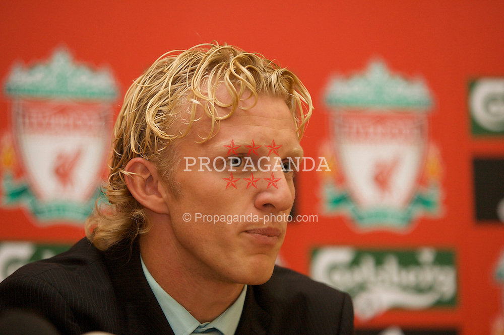 LIVERPOOL, ENGLAND - FRIDAY, AUGUST 18th, 2006: Liverpool's new signing Netherland's striker Dirk Kuyt at a press conference at the club's Melwood Training Ground. (Pic by David Rawcliffe/Propaganda)
