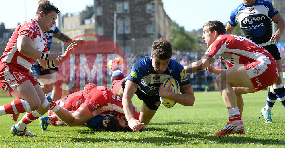 Bath Outside Centre Ollie Devoto scores a try. - Photo mandatory by-line: Alex James/JMP - Mobile: 07966 386802 - 16/05/2015 - SPORT - Football - Bath - The Recreation Ground - Bath v Gloucester - Aviva Premiership