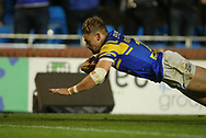 Jimmy Keinhorst of Leeds Rhinos  dives over to score the try against Salford Red Devils during the Super 8s Qualifiers match at Emerald Headingley Stadium, Leeds<br /> Picture by Stephen Gaunt/Focus Images Ltd +447904 833202<br /> 14/09/2018
