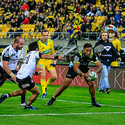 Vince Aso  reaches to score during the Super Rugby union game between Hurricanes and Sunwolves, played at Westpac Stadium, Wellington, New Zealand on 27 April 2018.   Hurricanes won 43-15.
