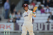 50 for Ryan Davies of Somerset . Ryan Davies of Somerset  raises his bat to celebrate his half century one run too early during the Specsavers County Champ Div 1 match between Somerset County Cricket Club and Nottinghamshire County Cricket Club at the Cooper Associates County Ground, Taunton, United Kingdom on 22 September 2016. Photo by Graham Hunt.