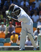 "Michael Carberry plays a straight bat on Day 2 of the 1st Test in the 2013-14 Ashes Cricket Series between Australia and England at the GABBA (Brisbane, Australia) from Thursday 21st November 2013<br /> <br /> Conditions of Use : NO AGENTS ~ This image is subject to copyright and use conditions stipulated by Cricket Australia.  This image is intended for Editorial use only (news or commentary, print or electronic) - Required Image Credit : ""Steven Hight - AURA Images"""