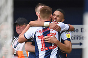 West Bromwich Albion defender Kieran Gibbs (3) scores a goal 2-0 and celebrates during the EFL Sky Bet Championship match between West Bromwich Albion and Millwall at The Hawthorns, West Bromwich, England on 22 September 2018.