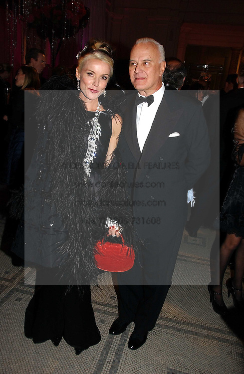 DAPHNE GUINNESS and MANOLO BLAHNIK at the British Fashion Awards 2006 sponsored by Swarovski held at the V&amp;A Museum, Cromwell Road, London SW7 on 2nd November 2006.<br />