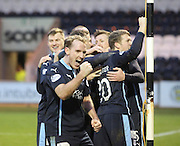 Gary Irvine shows his joy as Dundee players congratulate Iain Davidson on his winner-  St Mirren v Dundee, SPFL Premiership at St Mirren Park <br /> <br /> <br />  - &copy; David Young - www.davidyoungphoto.co.uk - email: davidyoungphoto@gmail.com