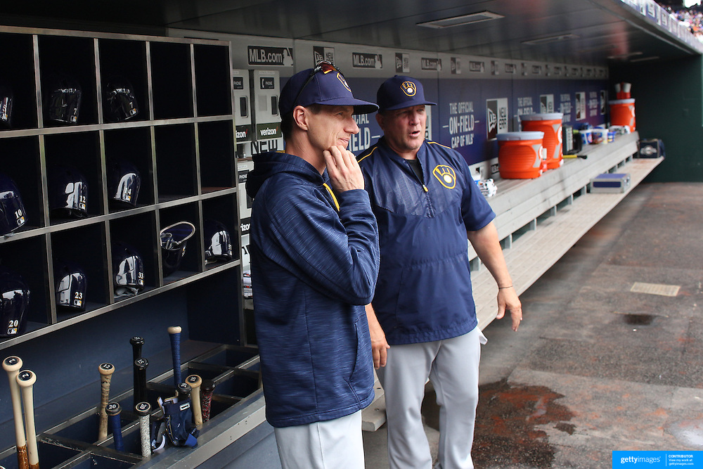 NEW YORK, NEW YORK - May 22:  Manger Craig Counsell #30, (left) and bench coach Pat Murphy #49 of the Milwaukee Brewers int he dugout during the Milwaukee Brewers Vs New York Mets regular season MLB game at Citi Field on May 22 2016 in New York City. (Photo by Tim Clayton/Corbis via Getty Images)