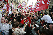 April 22nd 2007. Paris, France..Young socialists and socialist partisans wait for the results of the first round of the French presidential elections in front of the socialist party headquarters.