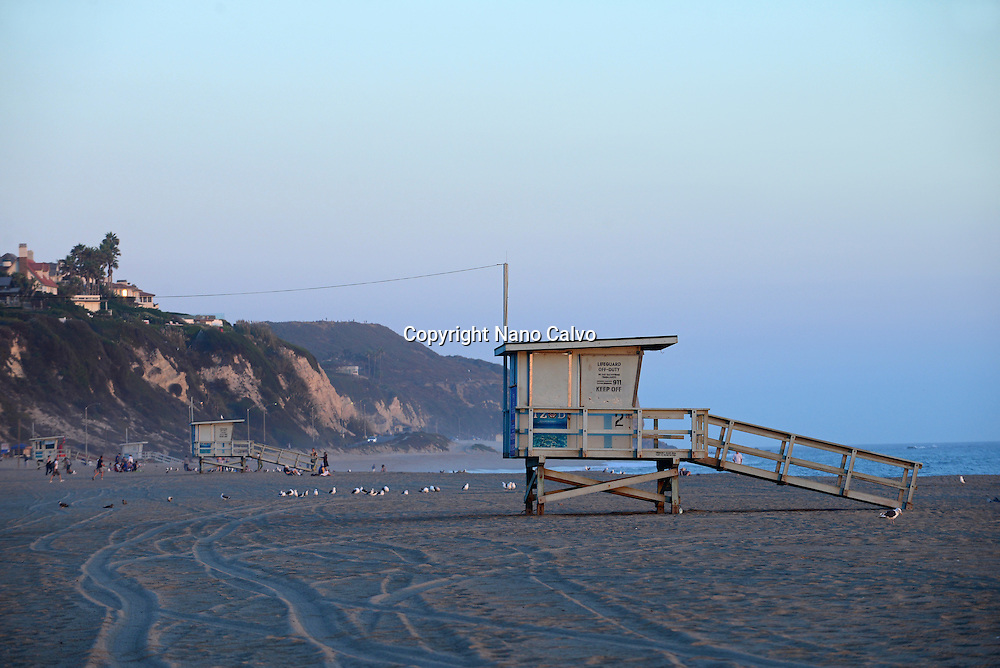 Lifeguard tower at Zuma beach in Malibu, California.