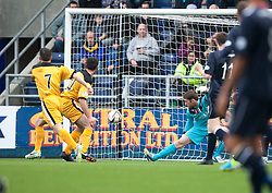 Dumbarton's Garry Fleming scoring their first goal.<br /> Half time : Falkirk 1 v 2 Dumbarton, Scottish Championship game played today at the Falkirk Stadium.<br /> &copy;Michael Schofield.
