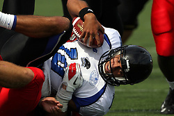 15 September 2012:  Colton Underwood sacks Jimmy Garoppolo during an NCAA football game between the Eastern Illinois Panthers and the Illinois State Redbirds at Hancock Stadium in Normal IL
