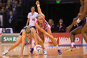 Anna Thompson of the Tactix competes for the ball with Renae Hallinan of the Thunderbirds during the ANZ Championship Netball game between the Mainland Tactix v Adelaide Thunderbirds at Horncastle Arena in Christchurch. 20th April 2015 Photo: Joseph Johnson/www.photosport.co.nz