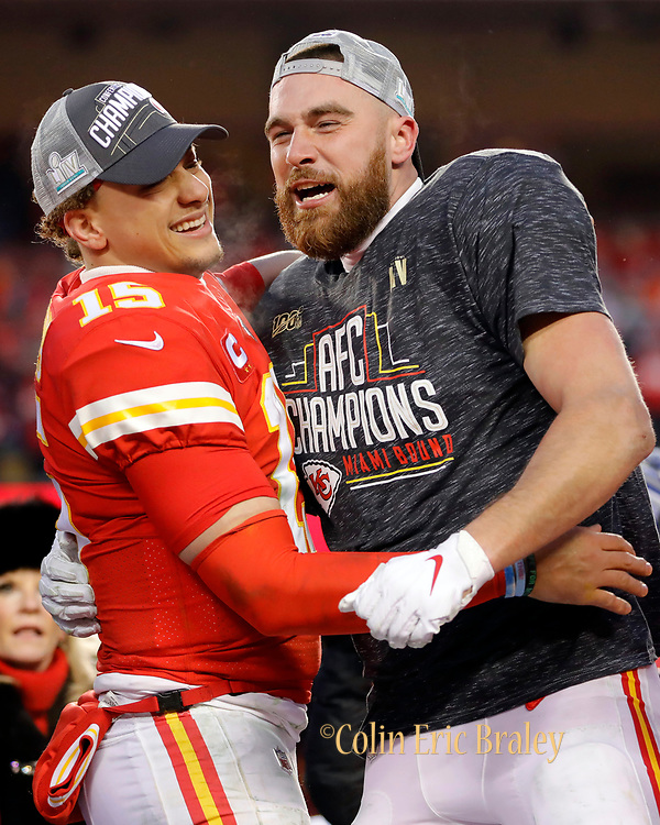 Kansas City Chiefs' Patrick Mahomes, left, Travis Kelce, center, and Tyrann Mathieu, right, during celebrations after winning the NFL, AFC Championship football game against the Tennessee Titans, Sunday, Jan. 19, 2020, in Kansas City, MO. The Chiefs won 35-24 to advance to Super Bowl 54. (AP Photo/Colin E. Braley)
