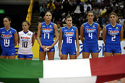30.10.2010, Hamamatsu, Gymnasium, Matsumoto, JPN, Volleyball Weltmeisterschaft Frauen 2010, Niederlande (NL) vs Italien (ITA), im Bild In a spectacular match beats Italy the Netherlands with 3-2 / 2. Cristina Barcellini, 4. Lucia Crisanti, 14. Eleonora Lo Bianco, 16. Lucia Bosetti en 17. Simona Gioli. EXPA Pictures © 2010, PhotoCredit: EXPA/ nph/  Hoogendorn+++++ ATTENTION - OUT OF GER +++++