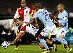 (L-R) Sofyan Amrabat of Feyenoord, Karim el Ahmadi of Feyenoord, Fernandinho of Manchester City, David Silva of Manchester City during the UEFA Champions League group F match between Feyenoord Rotterdam and Manchester City at the Kuip on September 13, 2017 in Rotterdam, The Netherlands