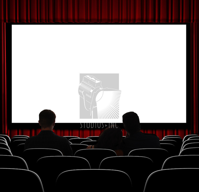 A movie theater showing blank screen from straight on shot.