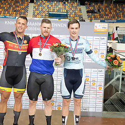 29-12-2018: Wielrennen: NK Baan: Apeldoorn <br />Podium kilometer. kampioen Roy van den Berg, zilver Sam Ligtlee, brons Stefan Habets