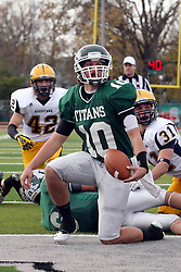 12 November 2011:  Rob Gallik gets up from the end zone looking for an official to signal his touchdown during an NCAA division 3 football game between the Augustana Vikings and the Illinois Wesleyan Titans in Tucci Stadium on Wilder Field, Bloomington IL