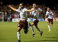 Sacramento Republic Football Club's Rodrigo Lopez (8) celebrates his third goal on a penalty to go ahead 3-2 during the second half as Republic FC hosts LA Galaxy II in the second round of the USL Pro playoff at Bonney Field, Saturday September 20, 2014. Sacramento Republic Football Club won the game 3-2.<br /> Brian Baer/Special to the Bee