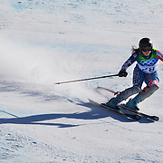 Winter Olympics, Vancouver, 2010.Leanne Smith, USA, in action in the Alpine Skiing Ladies Super Combined  during competition at Whistler Creekside, Whistler, during the Vancouver Winter Olympics. 18th February 2010. Photo Tim Clayton
