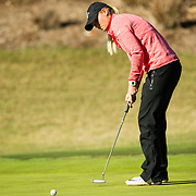 28 March 2018: Georgia Lacey attempts a birdie putt on the eleventh hole during the final round of match play against UCLA at it's annual March Mayhem Tournament at the Farms Golf Club in Rancho Santa Fe, California.<br /> More game action at sdsuaztecphotos.com