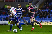 Leeds United defender Stuart Dallas (15) in action during the EFL Sky Bet Championship match between Reading and Leeds United at the Madejski Stadium, Reading, England on 26 November 2019.