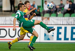 Miroslav Cvijanovic of Olimpija vs Dragan Jelic of Maribor at 13th Round of Prva Liga football match between NK Olimpija and Maribor, on October 17, 2009, in ZAK Stadium, Ljubljana. Maribor won 1:0. (Photo by Vid Ponikvar / Sportida)