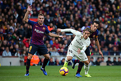 October 28, 2018 - Barcelona, Catalonia, Spain - Luca Modric and Sergio Busquets during the match between FC Barcelona and Real Madrid CF, corresponding to the week 10 of the Liga Santander, played at the Camp Nou, on 28th October 2018, in Barcelona, Spain. (Credit Image: © Joan Valls/NurPhoto via ZUMA Press)