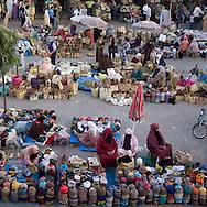 Morocco, Marrakech, souk, bazar , market in the center of the medina, old city former slave market  Marrakech - Morocco  view from cafe delices /  les souks , marche couvert dans le centre de la Medina, dans la vielle ville   / ancien marche des esclaves  Marrakech - Maroc vu du cafe des delices