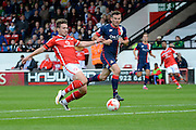 Goalscorer Tom Bradshaw in action during the Sky Bet League 1 match between Walsall and Doncaster Rovers at the Banks's Stadium, Walsall, England on 12 September 2015. Photo by Alan Franklin.