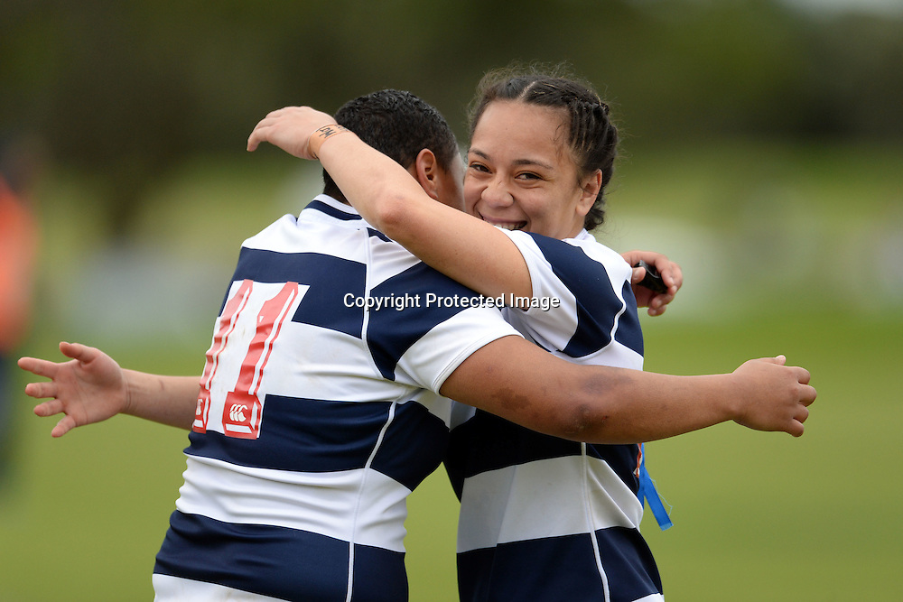 Makineti Hufanga and Natahlia Debnorah-Moors of Auckland Storm celebrate a successful try during the Women's Rugby NPC Semi Final, Auckland Storm v Waikato. Auckland, New Zealand on Saturday 10 October 2015. Copyright Photo: Raghavan Venugopal / www.photosport.nz