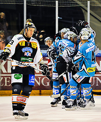 24.09.2010, Eisstadion Liebenau, Graz, AUT, EBEL, Moser Medical Graz 99ers vs EHC Liwest Blackwings Linz, im Bild Jubel nach dem 0 zu 1 durch Martin Grabher Meier, (EHC Liwest Black Wings Linz, Stürmer, #91), Daniel Oberkofler, (EHC Liwest Black Wings Linz, Stürmer, #74), Rich Bronilla, (EHC Liwest Black Wings Linz, Verteidiger, #47), Nick Kuiper, (Graz 99ers, Verteidiger, #73), EXPA Pictures © 2010, PhotoCredit: EXPA/ S. Zangrando