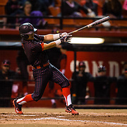 16 February 2018: San Diego State baseball opened up the season against UCSB at Tony Gwynn Stadium. San Diego State infielder Jacob Maekawa (3) hits a two run single in the bottom of the second to give the Aztecs a 3-0 lead. The Aztecs beat the Gauchos 9-1. <br /> More game action at sdsuaztecphotos.com