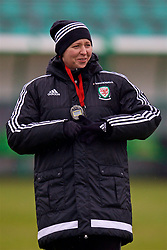 ZENICA, BOSNIA AND HERZEGOVINA - Sunday, November 26, 2017: Wales' manager Jayne Ludlow during a training session ahead of the FIFA Women's World Cup 2019 Qualifying Round Group 1 match  against Bosnia and Herzegovina at the FF BH Football Training Centre. (Pic by David Rawcliffe/Propaganda)