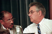 Ranking democrat Rep. John Conyers talks with Rep. Barney Frank during House Judiciary Committee hearings on whether impeachment proceedings should begin against President Bill Clinton October 5, 1998 in Washington, DC. This is only the third time in US history that impeachment proceedings against a President have been brought to the House committee.