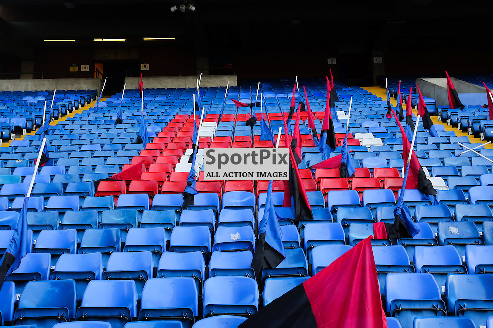 The Homesdale End at Selhurst Park prepares for the pre match flag display at Crystal Palace vs Manchester United on Saturday the 31st October 2015.