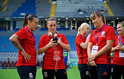 ASTANA, KAZAKHSTAN - Sunday, September 17, 2017: Wales' Natasha Harding, Georgia Evans and Gemma Evans ahead of the FIFA Women's World Cup 2019 Qualifying Round Group 1 match between Kazakhstan and Wales at the Astana Arena. (Pic by David Rawcliffe/Propaganda)