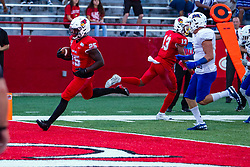 NORMAL, IL - September 07: James Robinson scores a touchdown in the 1st quarter during a college football game between the ISU (Illinois State University) Redbirds and the Morehead State Eagles on September 07 2019 at Hancock Stadium in Normal, IL. (Photo by Alan Look)