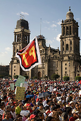 Union members and workers congregate in the Zocalo, Mexico City's main plaza, protest the closing of Luz y Fuerza, a state run power company, on Thursday, October 15, 2009.