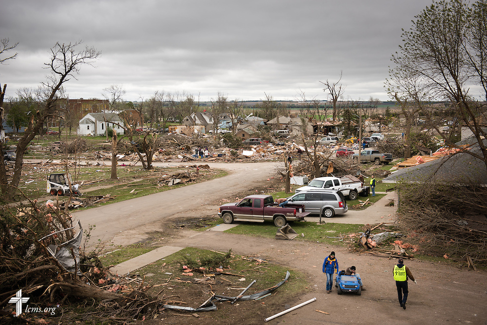 The view from Zion Lutheran Church on Monday, May 11, 2015, overlooking Delmont, S.D. A tornado swept through the area the previous day and destroyed the church and nearby buildings. LCMS Communications/Erik M. Lunsford
